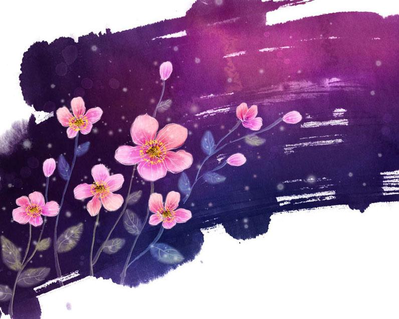 漂亮的水墨粉色花朵PSD素材