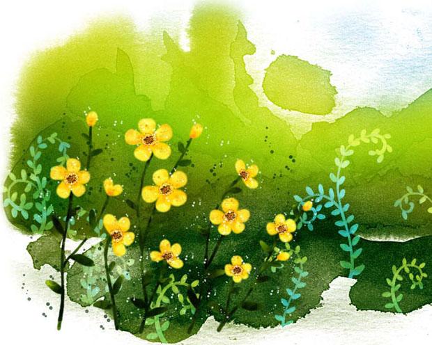 水墨花朵背景画PSD素材