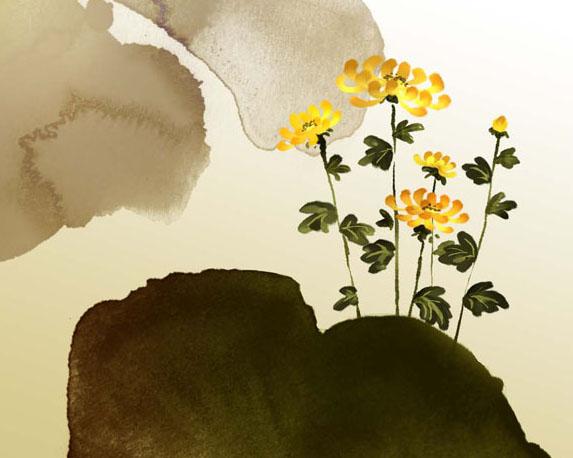 水墨背景绘画与花朵PSD素材