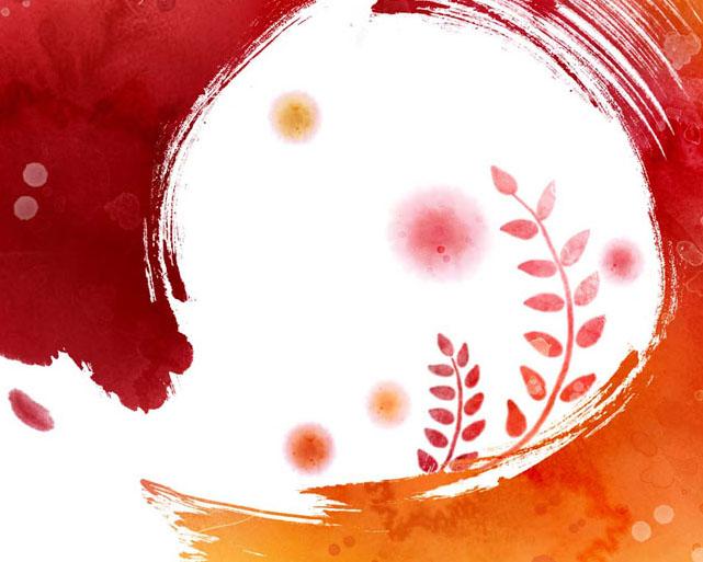 水彩花朵画PSD素材