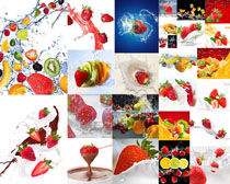 飞溅水与水果摄影高清图片