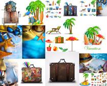 夏日旅行箱摄影高清图片