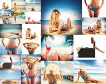 大海沙滩比基尼美女拍摄高清图片