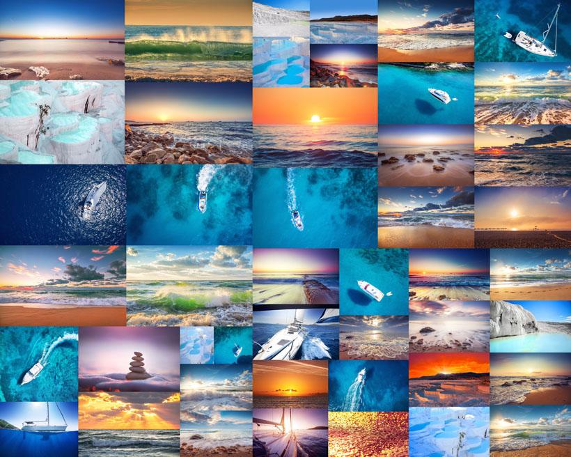 大海与船风景摄影高清图片