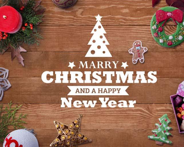 木板圣诞节装饰物PSD素材