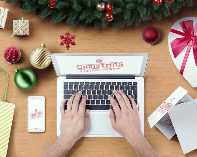 笔记本与圣诞节礼物PSD素材