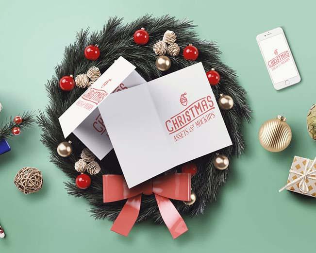 圣诞礼物贺卡装饰PSD素材