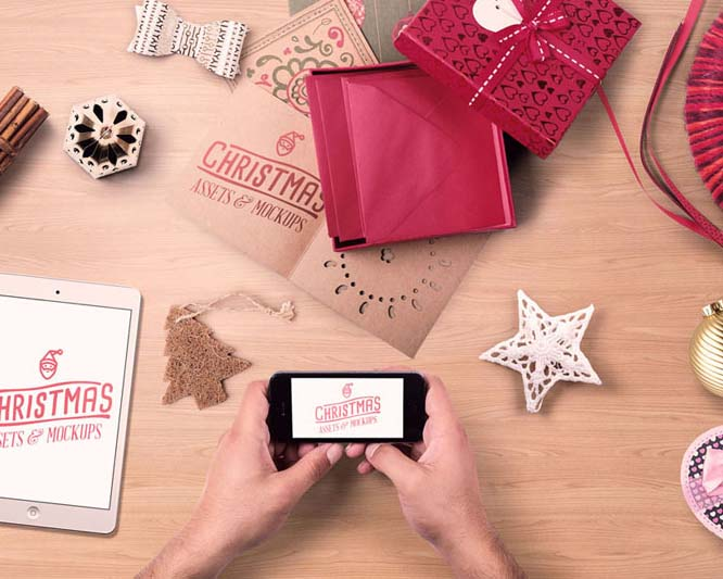 手机与圣诞礼物PSD素材