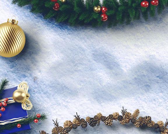雪地圣诞节装饰PSD素材