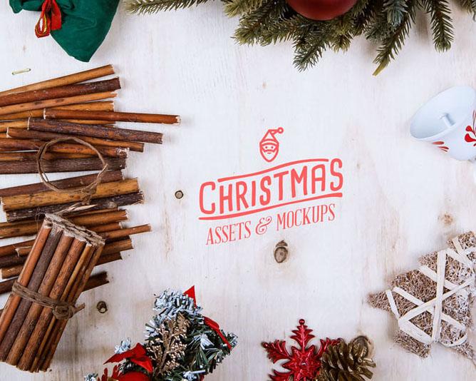 圣诞节装饰物品PSD素材