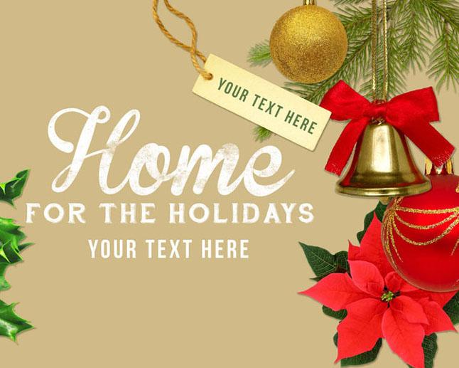 圣诞节铃铛背景PSD素材