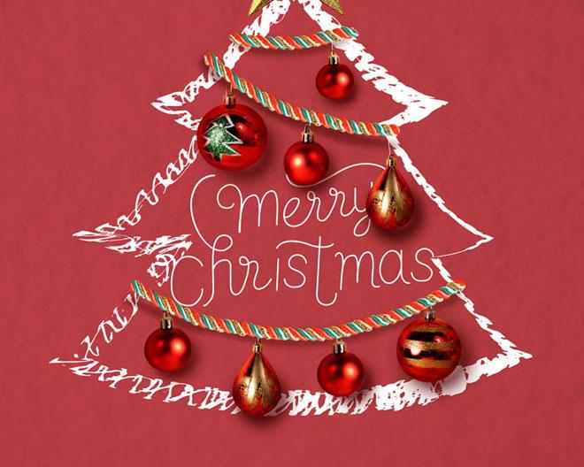 圣诞树装饰背景PSD素材