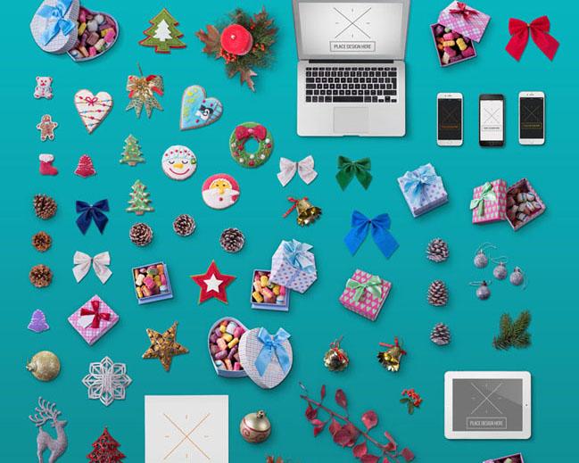 圣诞节的装饰物PSD素材