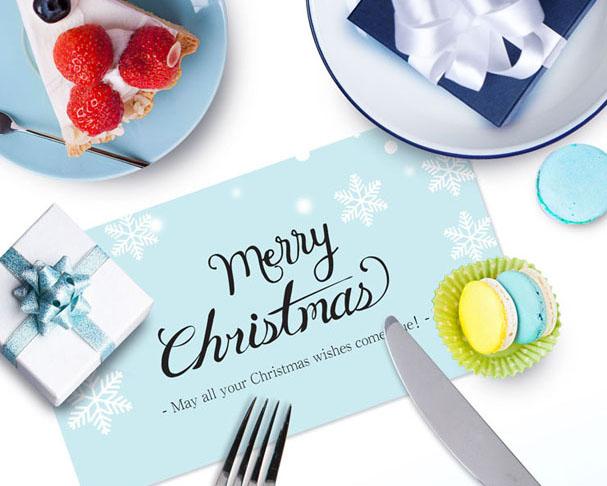 圣诞节餐具PSD素材