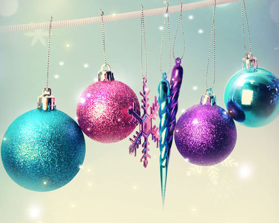 圣诞节日球背景PSD素材