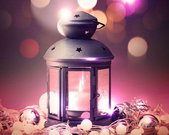 圣诞背景与油灯PSD素材