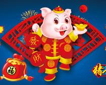猪年快乐海报设计矢量素材