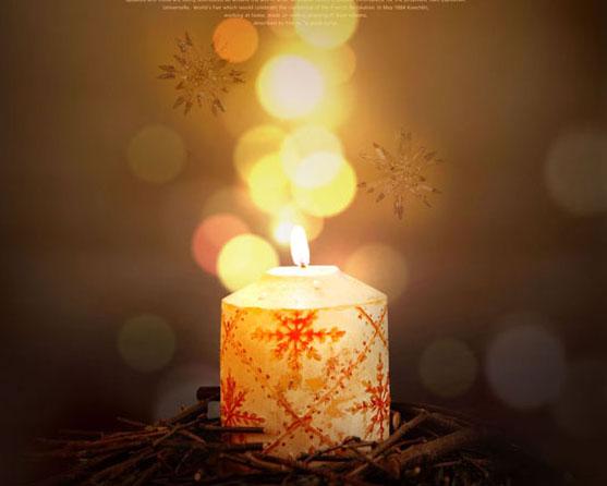蜡烛光亮背景PSD素材