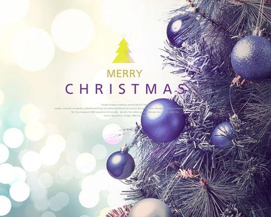 圣诞树背景封面PSD素材