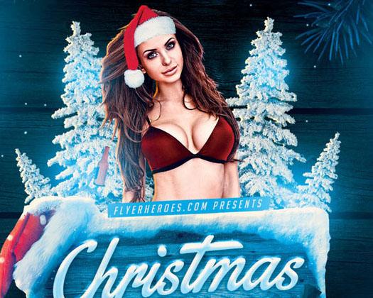 性感美女圣诞海报PSD素材