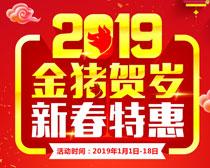 2019金猪贺岁新春特惠海报设计矢量素