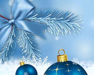 圣诞球蝴蝶结横幅PSD素材