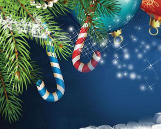 布置圣诞装饰横幅PSD素材