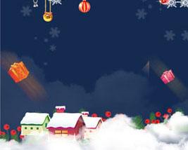 圣诞球房屋背景横幅PSD素材