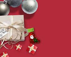 圣诞球礼物横幅PSD素材
