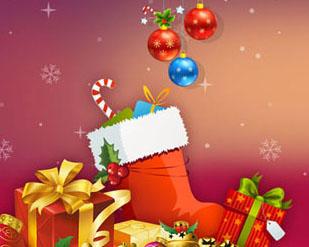 圣诞鞋子礼物球横幅PSD素材