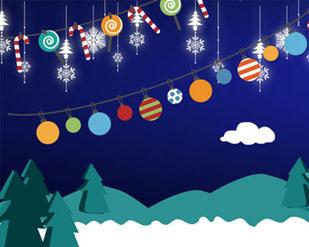 圣诞节布置横幅PSD素材