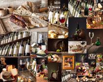 红酒香肠面包摄影高清图片