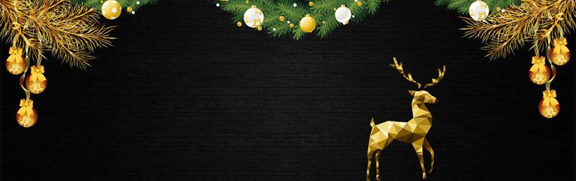 圣诞小鹿装饰横幅PSD素材