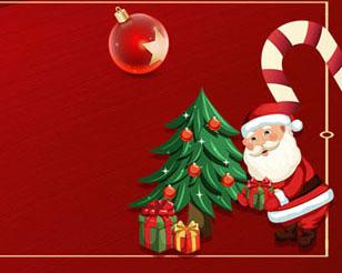 圣诞老人与礼物横幅PSD素材