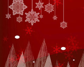 红色背景雪花横幅PSD素材