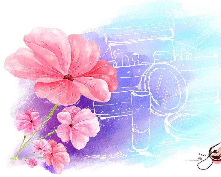 镜子与水彩画花朵PSD素材