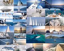 海上帆船与人物摄影高清图片