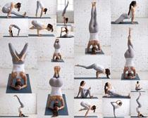 練習瑜伽歐美女子拍攝高清圖片