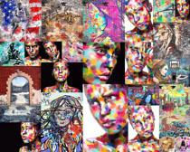 女性涂画色彩拍摄高清图片