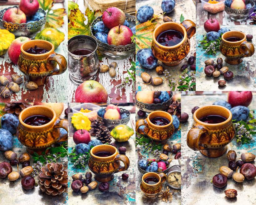 杯子与苹果摄影高清图片