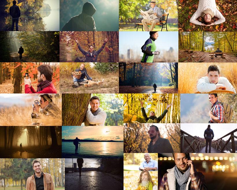 秋天奔跑的人物摄影高清图片