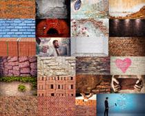 红砖头背景摄影高清图片