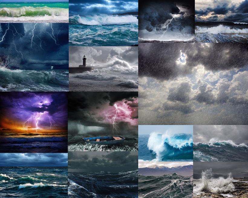 海浪暴风天气摄影高清图片