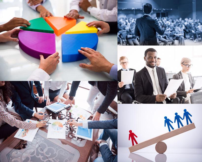 图表分析与商务人士摄影高清图片