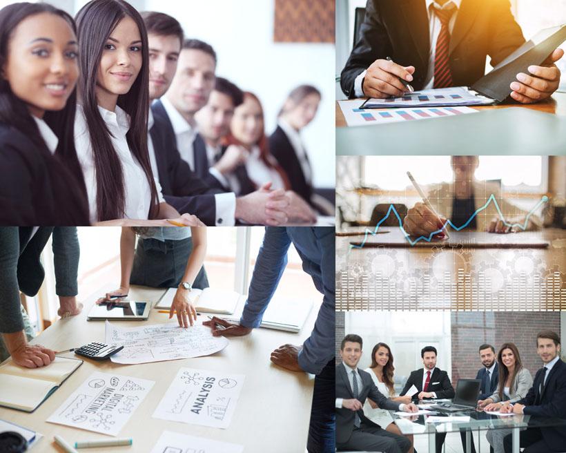 商务会议人士与数据表摄影高清图片