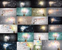 圖紙繪畫與燈泡攝影高清圖片