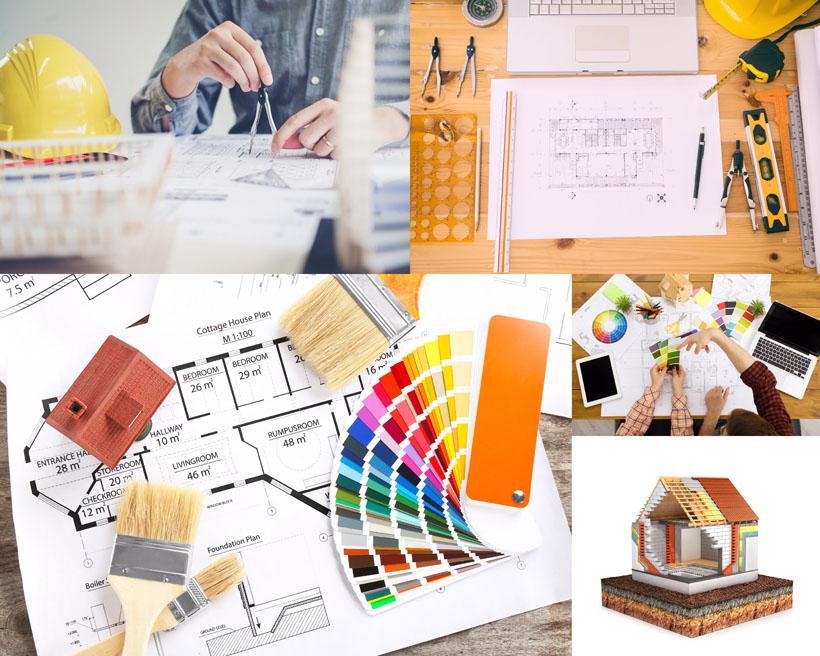 工程设计图纸摄影高清图片