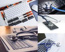 键盘与医疗设备摄影高清图片