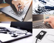 听诊器与笔记本摄影高清图片