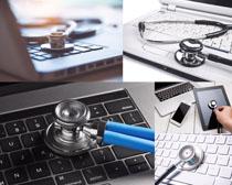 商务数码与听诊器摄影高清图片